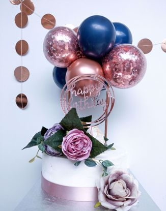 Picture of ROSE GOLD BALLOONS CONFETTI CAKE TOPPER BIRTHDAY NAVY FLOWERS