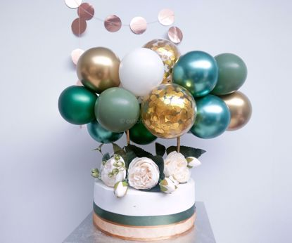 Picture of Cake Topper Balloon Garland Eucalyptus Gold Chrome