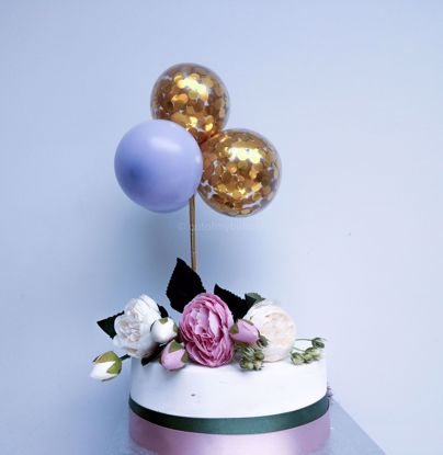 Picture of Balloon Cake Topper Gold Confetti Lilac