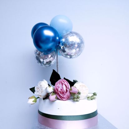Picture of Balloon Cake Topper Blue Chrome Silver Confetti