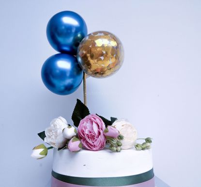 Picture of Balloon Cake Topper Blue Chrome Gold