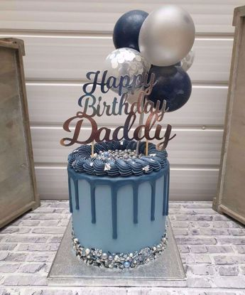 Picture of Balloon Cake Topper Mini Garland Navy Blue Silver Confetti