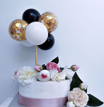 Picture of Balloon Cake Topper Mini Garland White Black Gold Confetti