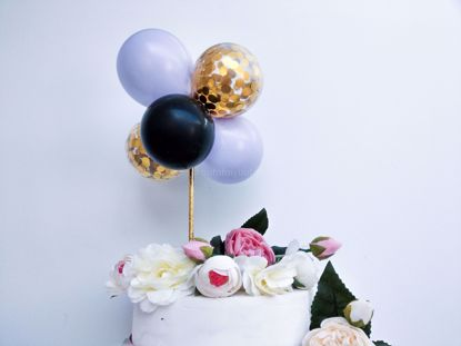 Picture of Balloon Cake Topper Mini Garland Lilac Black Gold Confetti