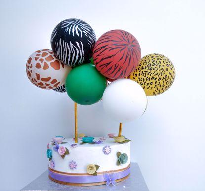 Picture of ANIMAL PRINT BALLOON CAKE TOPPER SAFARI TROPICAL JUNGLE