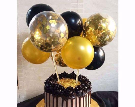 Picture of Balloon Cake Topper Mini Garland Black Gold Confetti